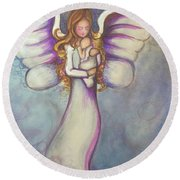 Angel And Baby Round Beach Towel