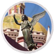 Angel And Cathedral Round Beach Towel