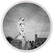 Angel And Church In Calvary Cemetery New York City Round Beach Towel