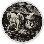Angel And Frog Round Beach Towel