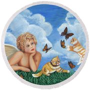 Angel And Kittens Round Beach Towel