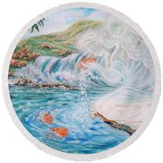 Angel And The Fishes  Flying-lamb-productions  Round Beach Towel