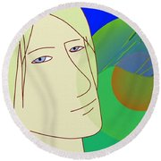Angel And The Light Round Beach Towel