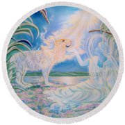 Chloe The Flying Lamb Productions.            Ask The Beasts And They Will Teach You. Round Beach Towel