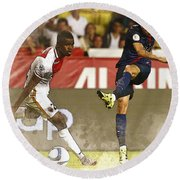 Angel Di Maria Shoot The Ball Round Beach Towel