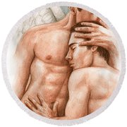 Angel Embrace Round Beach Towel