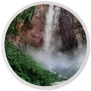 Angel Falls Canaima National Park Venezuela Round Beach Towel by Dave Welling