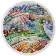 Angel From Jacob's Ladder Round Beach Towel