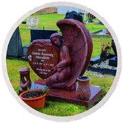 Angel Guarding Grave Hvalsneskirkja Graveyard Iceland Round Beach Towel