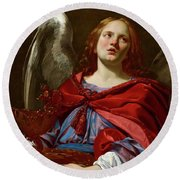 Angel Holding The Vessel And Towel For Washing The Hands Of Pontius Pilate Round Beach Towel