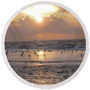 Angel In Approach For Landing 2 Round Beach Towel