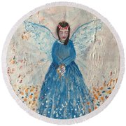 Angel In Blue Round Beach Towel