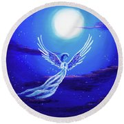 Angel In Blue Starlight Round Beach Towel