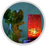 Angel In Candle Light Round Beach Towel