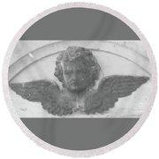 Angel In Grey Round Beach Towel