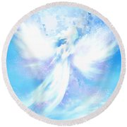 Angel In Hotty Totty In Thick Paint Round Beach Towel