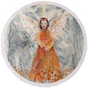 Angel In Orange Round Beach Towel