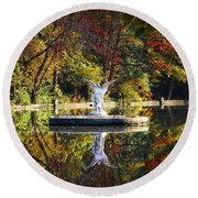 Angel In The Lake - St. Mary's Ambler Round Beach Towel