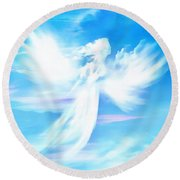 Angel In Thick Paint Round Beach Towel