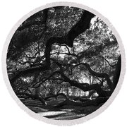 Angel Oak Limbs Bw Round Beach Towel
