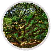Angel Oak Morning Shadows Charleston South Carolina Round Beach Towel