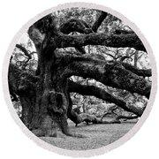 Angel Oak Tree 2009 Black And White Round Beach Towel by Louis Dallara
