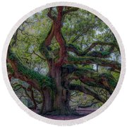 Angel Oak Tree Deeply Rooted History Round Beach Towel