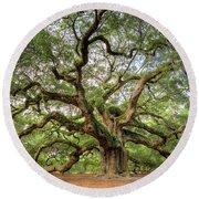 Angel Oak Tree Of Life Round Beach Towel