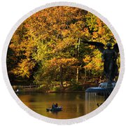 Angel Of Golden Waters Round Beach Towel