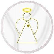 Angel Of Light Round Beach Towel