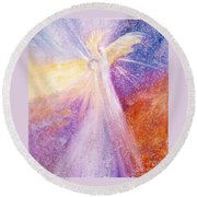 Angel Of Light Round Beach Towel