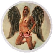 Angel Of Lust By Mb Round Beach Towel