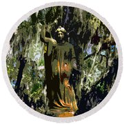Angel Of Savannah Round Beach Towel