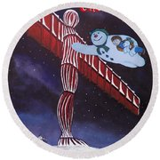 Angel Of The North, Snowman Round Beach Towel