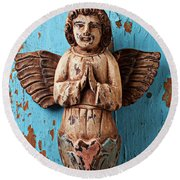 Angel On Blue Wooden Wall Round Beach Towel