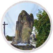 Angel On Graveyard Round Beach Towel