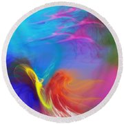 Angel On Lilly Pond Round Beach Towel