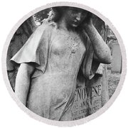 Angel On The Ground At Cavalry Cemetery, Nyc, Ny Round Beach Towel
