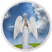 Angel Releasing A Dove Round Beach Towel by Jill Battaglia