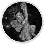 Angel Statue Hanging On Round Beach Towel