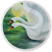 Angel Swans Round Beach Towel