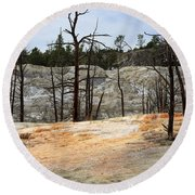Angel Terrace At Mammoth Hot Springs Yellowstone National Park Round Beach Towel