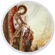 Angel Traveller Round Beach Towel by Gustave Moreau