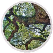 Angel Tree Abstract Round Beach Towel