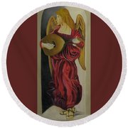 Angel With Lute Round Beach Towel
