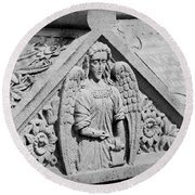 Angel With Scroll Carving Round Beach Towel