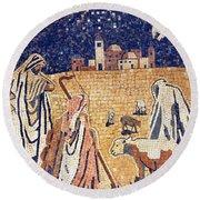 Angel With Shepherds Round Beach Towel