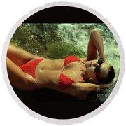Angela Red Bikini-0721 Round Beach Towel