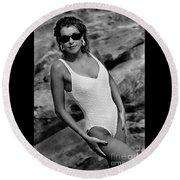 Angela White One Piece-0651 Round Beach Towel