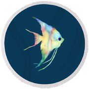 Angelfish I - Solid Background Round Beach Towel